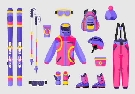 Set of snowboarding gear, clothing equipment icons, flat vector illustration isolated on background. Flat vector ski, poles, clothes and tools - boots, salopettes, jacket, hat, backpack, goggles Vectores