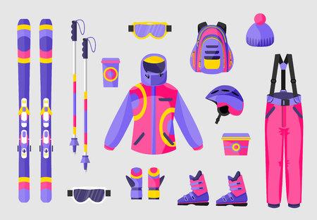 Set van snowboarden versnelling, kleding apparatuur pictogrammen, platte vectorillustratie geïsoleerd op de achtergrond. Platte vector ski's, palen, kleding en hulpmiddelen - laarzen, salopettes, jas, hoed, rugzak, bril Stockfoto - 81789235