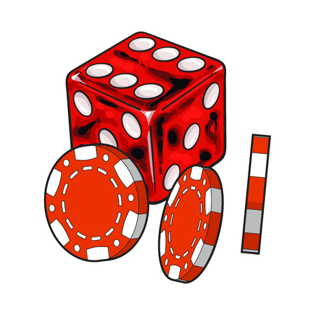 Shiny red dice and gambling chips, casino attributes, sketch style vector illustration isolated on white background. Gambling chips and playing dice on white background Çizim