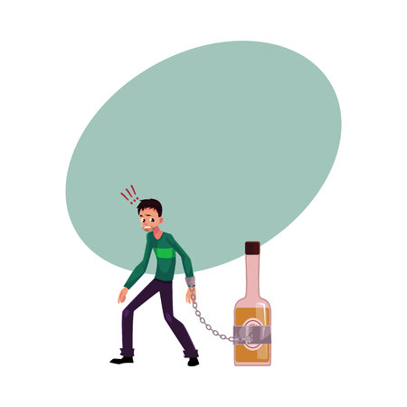 habit: Unshaven man standing with hand chained to bottle of liquor, alcohol dependence, cartoon vector illustration with space for text.