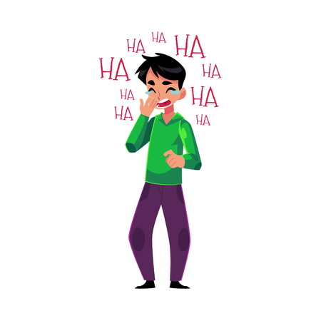 eyes are closed: Young man laughing out loud, crying from laughter holding mouth, cartoon vector illustration isolated on white background. Full length portrait of young man bursting with laughter, laughing to tears Illustration