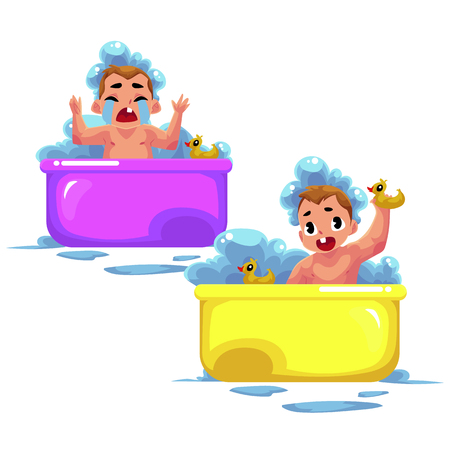 Cute little baby kid, infant, child taking foam bath, happy and crying, cartoon vector illustration isolated on white background. Little caucasian kid, baby, infant taking foam bath, daily hygiene
