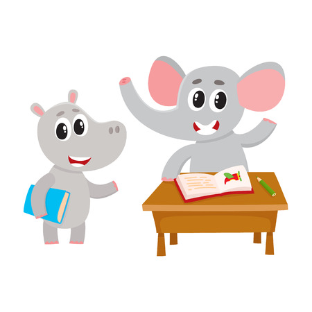 Cute animal student characters, elepant sitting at desk, hippo holding book, cartoon vector illustration isolated on white background. Little animal student characters in class, back to school concept