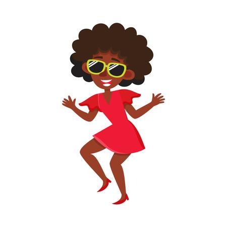 Pretty black, African American woman, retro disco dancer, cartoon vector illustration isolated on white background. Young black African American woman dancing at retro disco party, having fun Illustration