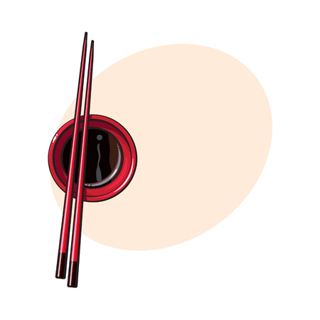 Bamboo Asian, Chinese, Japanese chopsticks lying on soy sauce bowl, sketch vector illustration with space for tex. Traditional Chinese, Japanese, Thai cuisine - chopsticks and soy sauce