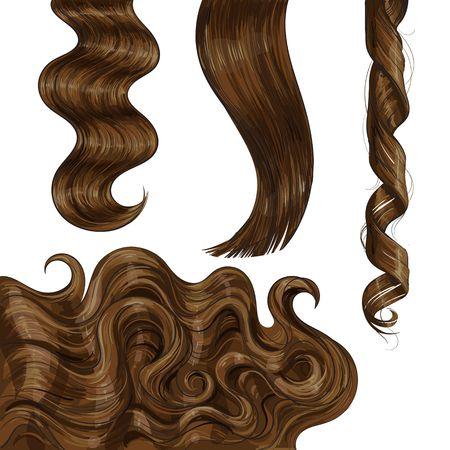 반짝이 긴 갈색, 공정한 스트레이트 및 물결 모양 머리 컬, 스케치 스타일 벡터 일러스트 레이 션 흰색 배경에 고립의 집합입니다. 손으로 그려진 현실