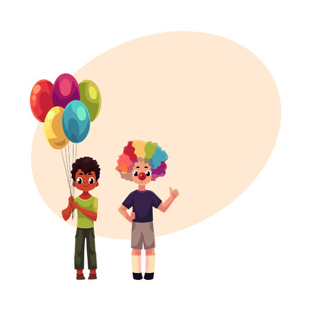 Two boys at birthday part, one black holding bunch of balloons, another Caucasian in clown nose and wig, cartoon vector illustration with space for text. Two kids at birthday party Stock fotó - 81792216