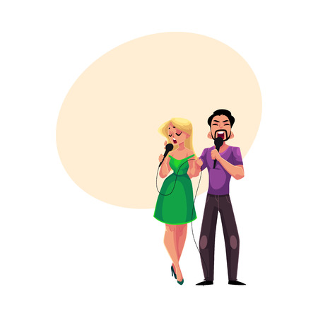 Man and woman singing duet into microphones, karaoke party, contest, competition, cartoon vector illustration with space for text. Two karaoke singers, man and woman, singing together Illustration