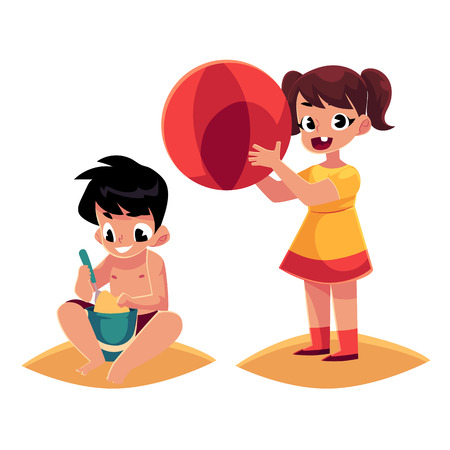 Two kids playing on sandy beach, girl with big ball, boy with bucket and shovel, cartoon vector illustration isolated on white background. Kids playing on beach with sand and inflatable ball
