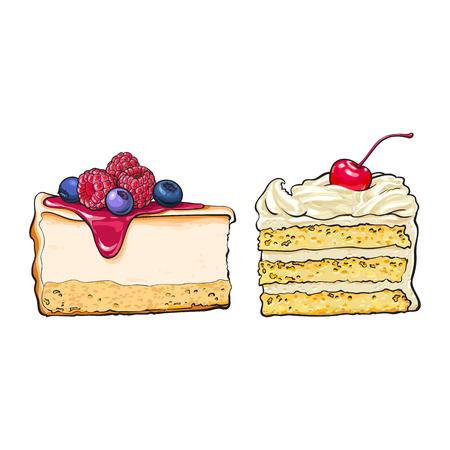 手の描かれたデザート - 個、チーズケーキのスライスとバニラのケーキ、白い背景で隔離のスケッチ スタイル ベクトル図を階層化します。リアルな