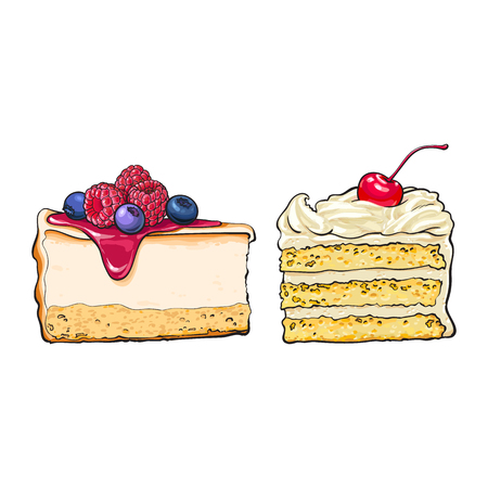 Hand drawn desserts - pieces, slices of cheesecake and layered vanilla cake, sketch style vector illustration isolated on white background. Realistic hand drawing of cheesecake and layered cake pieces