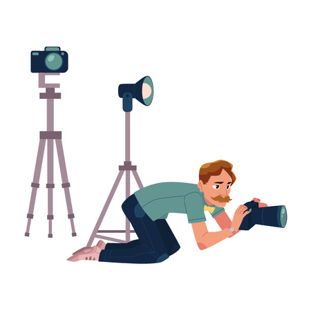 Photographer taking pictures, shooting from low angle, kneeling, cartoon vector illustration on white background. Professional photographer, photo journalist, reporter crunching, kneeling on ground Illustration