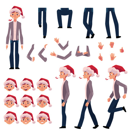 Man in Santa hat, character creation set with different poses, gestures, faces, cartoon vector illustration on white background. Man in Santa hat creation set, constructor, changeable face, legs, arms