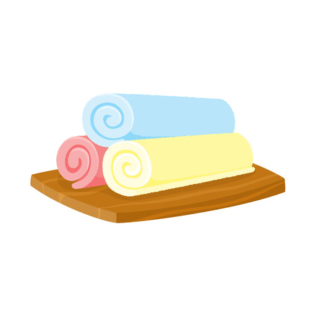 Three pieces of rolled up colorful towels on wooden plate, spa salon accessory, cartoon vector illustration on white background. Three rolls of spa salon towels on rectangular wooden plate