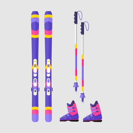스키, 부츠와 폴, 플랫 스타일 벡터 일러스트 레이 션 흰색 배경에 고립의 쌍. 플랫 벡터 스키, 부츠와 스키 폴, 겨울 스포츠, 다채로운 그림
