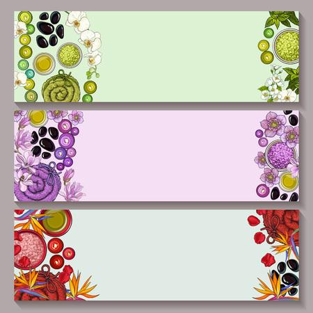 스파 살롱 액세서리와 녹색, 보라색 및 붉은 색조, 흰색 배경에 열 대 꽃 세 배너 템플릿 집합 스케치 벡터 일러스트 레이 션. 스파 액세서리 배너 디자 스톡 콘텐츠