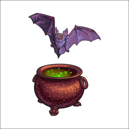 Hand drawn Halloween symbols - flying vampire bat and iron cauldron with boiling potion inside, sketch vector illustration isolated on white background. Sketch style Halloween caldron and flying bat