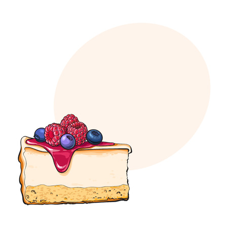 Hand drawn piece of cheesecake decorated with fresh berries, sketch style vector illustration with space for text. Realistic hand drawing of piece, slice of cheesecake, cheese cake