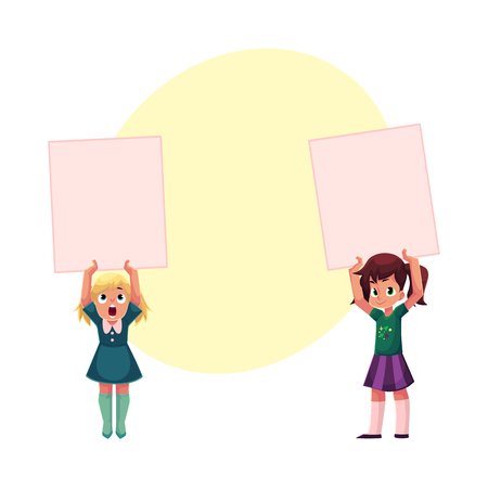 Two Little girls, child, kid holding blank empty poster, board, message or presentation element, cartoon vector illustration with space for text. Little girl holding empty, blank poster over head