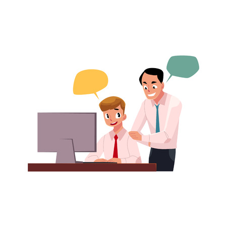 Boss managing male employee, man working on computer, cartoon vector illustration isolated on white background with speech bubbles. Boss supervising male employee working in office with speech bubbles 向量圖像