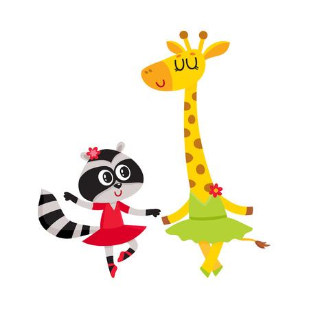 かわいい小さなキリンとアライグマ、子犬と子猫のキャラクターを一緒にバレエを踊って漫画、白い背景で隔離のベクトル図です。小さなアライグ  イラスト・ベクター素材