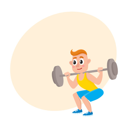 Young man squatting with barbell, doing sport exercises in gym, cartoon vector illustration with space for text. Cartoon man, guy squatting with barbell, weightlifting, bodybuilding in gym