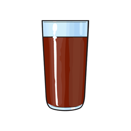 Side view drawing of chocolate milk, cocoa glass, sketch vector illustration isolated on white background. Hand drawn tall glass of cold chocolate milk