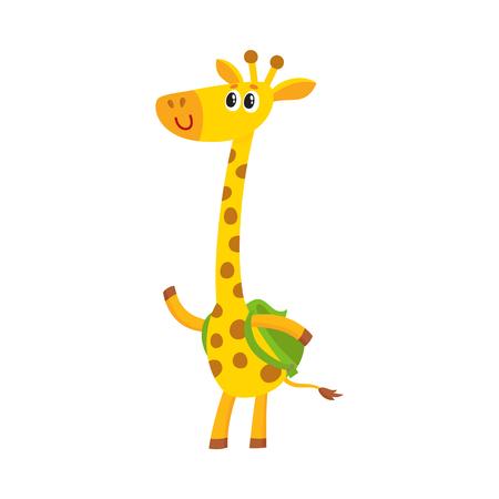 Carattere dello studente animale della piccola giraffa sveglia con lo zaino, di nuovo al concetto della scuola, illustrazione di vettore del fumetto isolata su fondo bianco. Piccolo studente di giraffa con zaino, saluto gesto