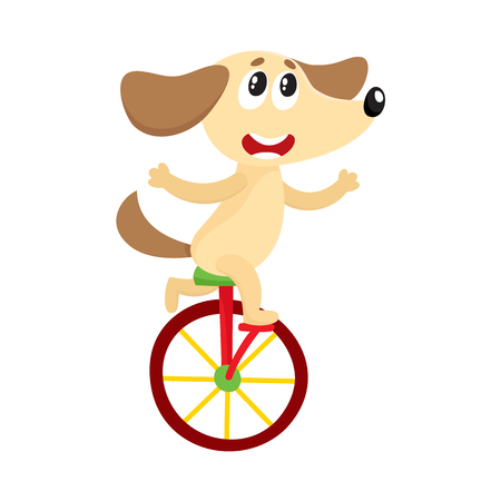 Cute little dog, puppy character riding bicycle, tricycle, cycling, cartoon vector illustration isolated on white background. Little baby dog, puppy animal character riding bike, bicycle, unicycle Иллюстрация