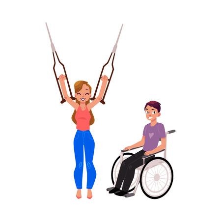 Man en rolstoel en vrouw gelukkig om van krukken, medisch rehabilitatieconcept, beeldverhaal vectorillustratie op witte achtergrond te weigeren. Rehabilitatie, herstel, gebruik van krukken en rolstoel