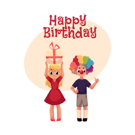 Happy birthday vector greeting card, poster, banner design with Kids, boy in clown wig and red nose, girl holding birthday gift. Two kids, boy and girl, birthday party, with clown nose, hair and gift Ilustrace