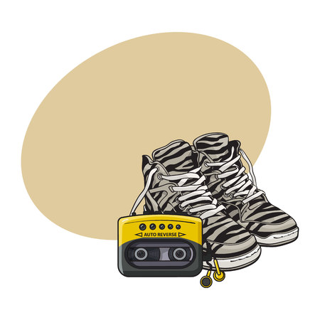 walkman: Pair of zebra sneakers and audio player from 90s, retro fashion icons, sketch vector illustration with space for text. Retro style sneakers and audio player, walkman from nineties