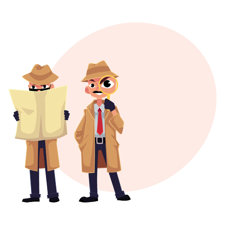 Detective character with magnifying glass, sleuthing, disguising, cartoon vector illustration with space for text. Funny detective character set Иллюстрация