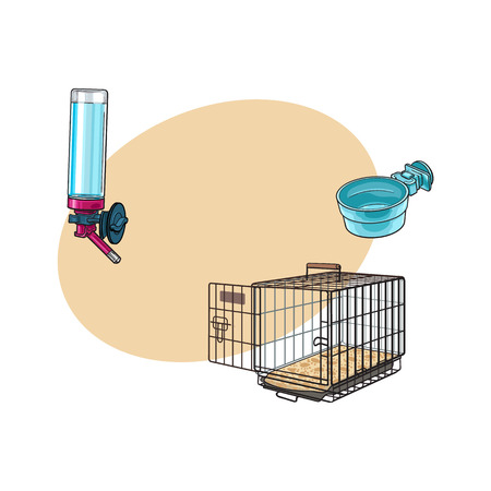 Metail wire pet travel carrier, feeding bowl and refillable drinker, sketch vector illustration with space for text. Hand drawn Metal wire cage, carrier, bowl, drinker for pet transportation