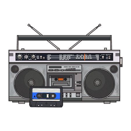 Grabadora de audio antigua, caja de resonancia del ghetto y cinta de audio de los años 90, ilustración vectorial boceto aislado sobre fondo blanco. Vista frontal de la grabadora de audio, del estéreo y del cassette de audio