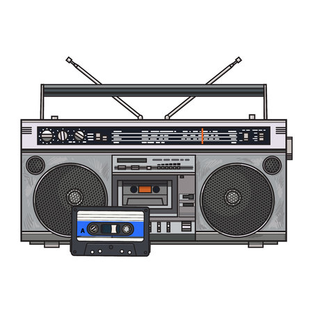 Old fashioned audio tape recorder, ghetto boom box and audiotape from 90s, sketch vector illustration isolated on white background. Front view of audio tape recorder, boom box and audio cassette