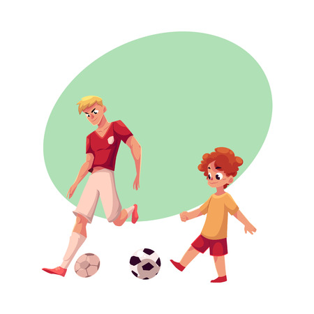 Little boy and adult soccer player playing football, choice of profession concept, cartoon vector illustration with space for text. Professional soccer player and little boy playing football