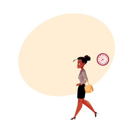 Young black, African American businesswoman hurrying, being late to work, feeling nervous, cartoon vector illustration with space for text. . Black businesswoman hurrying to work in the morning Illustration