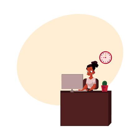 Zwarte, Afro-Amerikaanse zakenvrouw, secretaris, werken op de computer op kantoor tafel, cartoon vectorillustratie met ruimte voor tekst. Zwarte onderneemster, bureaumanager die aan computer werkt Stock Illustratie