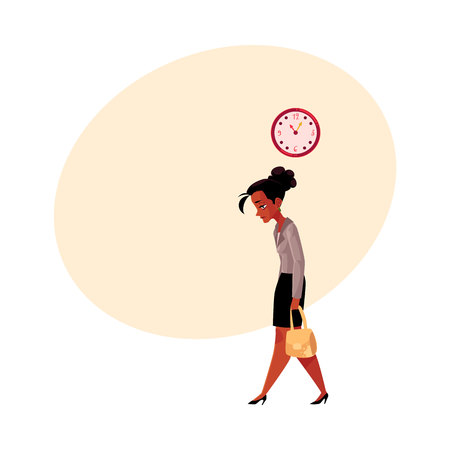 Tired black, African American businesswoman, going home after work, clock showing time, cartoon vector illustration with space for text. Black businesswoman sad, tired, going home from work Illustration