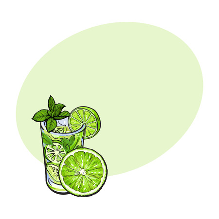Lime slice and glass of freshly squeezed juice with ice and straw, sketch style vector illustration with space for text. Hand drawn glass of lime cocktail with ice and grapefruit slice Ilustração