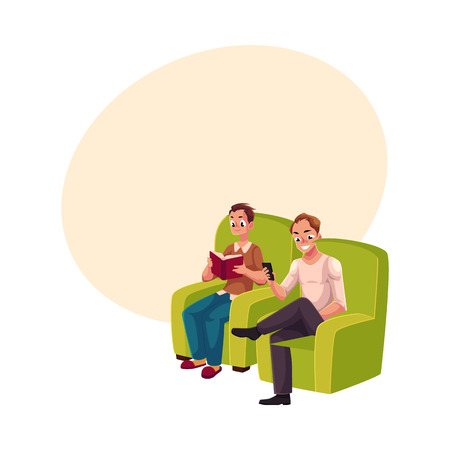 using smart phone: Young man reading book sitting in comfortable armchair, wearing slippers, another playing with smartphone, messaging, using mobile phone, cartoon vector illustration with space for text. Illustration