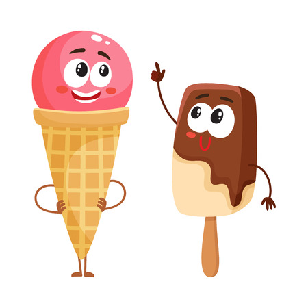 Two funny ice cream characters - strawberry cone and chocolate popsicle, cartoon style vector illustration isolated on white background. Two cute smiling creamy and chocolate ice cream characters