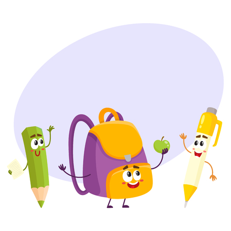 rollerball: Cute and funny smiling pen, pencil, backpack characters, back to school concept, cartoon vector illustration with space for text. Happy school characters, mascots - school bag, pen and pencil