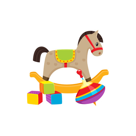Set of vector baby toys in flat style. Rocking horse, cubic blocks ,whirligig toy. Isolated illustration on a white background. Children education, growth and development concept.