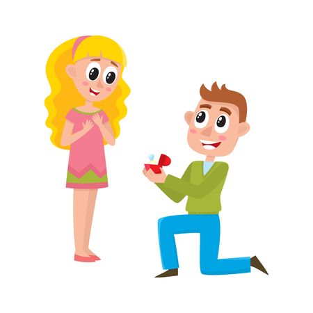 Loving couple, man proposing to beautiful woman girl standing on one knee, offering wedding ring, cartoon, comic style vector illustration isolated on white background. Loving couple, proposal