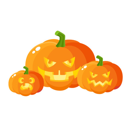 Three scary, spooky pumpkin jack-o-lanterns, Halloween decoration, cartoon vector illustration isolated on white background. Halloween pumpkin lanterns with carved out angry faces and spooky teeth