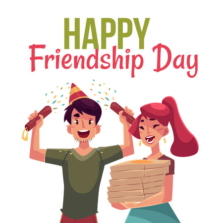 Happy friendship day greeting card design with friends having fun at a party, cartoon vector illustration isolated on white background. Boy and girl dancing, popping party poppers, pizza Illustration
