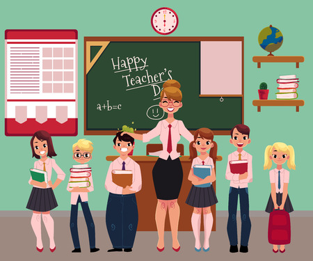 Full length portrait of female teacher standing with students, pupils in school classroom, cartoon vector illustration. Teacher and students standing together, back to school concept