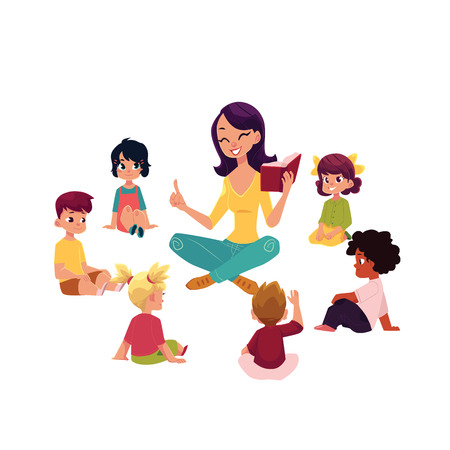 Kindergarten kids sitting around teacher reading a book, cartoon vector illustration isolated on white background. Female teacher read book to kindergarten kids sitting around, listening with interest